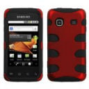 Fish Bone Protector Skin Hybrid Snap On Gel Cover (Faceplate) Cell Phone Case for Samsung Galaxy Prevail M820 Boost Mobile - Titanium Red/Black